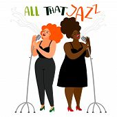 Singers Duet - Jazz Female Singers Vector Isolated On White Background poster