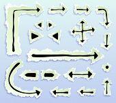 torn paper doodle arrows, vector illustration