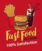Vector Banner For Fast Food With Burger, French Fries And Cola In Retro Style. Pop Art Illustration  poster