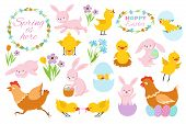 Easter Bunny, Chicks And Spring Flowers. Funny Rabbits, Baby Chickens And Eggs. Cartoon Easter Sprin poster