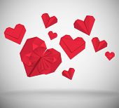 Abstract background, hearts made of red paper