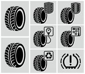 Vector black tire icons.