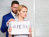 Sexual Assault And Harassment At Workplace. Woman Showing A Note With The Text Me Too. Sexual Harass poster
