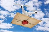 Air Drone Delivering Old Letter Envelope With Red Wax Seal On A Blue Sky Background. 3d Rendering poster