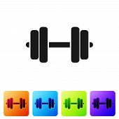 Grey Dumbbell Icon Isolated On White Background. Muscle Lifting Icon, Fitness Barbell, Gym Icon, Spo poster