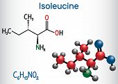 Isoleucine (l- Isoleucine , Ile, I) Amino Acid Molecule. It Is Used In The Biosynthesis Of Proteins. poster