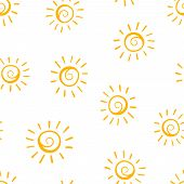 Hand Drawn Sun Icon Seamless Pattern Background. Business Concept Vector Illustration. Handdrawn Sun poster