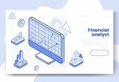 Digital Isometric Design Concept Set Of 3d Icons For Financial Analyst App.isometric Financial Busin poster