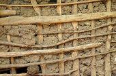 Afrikanische Mut und Holz Hütte Fassade Textur