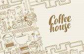 Vector Banner On Coffee Theme With A Cup Of Freshly Brewed Drink, Plant With Conveyor Coffee Product poster