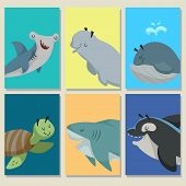 Mini Game Cards With Cute Cartoon Sea Animals. Hammer Head Fish, Beluga Whale, Whale, Sea Turtle, Sh poster