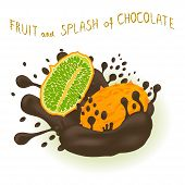 Illustration On Theme Falling Kiwano At Splash Sugary Chocolate. Kiwano Pattern Consisting Of Cute M poster