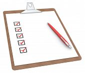 stock photo of x-rated  - Clipboard with Checklist X 5 and Pen - JPG