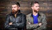 Men Brutal Bearded Hipster. Exude Masculinity. Confident Competitors Strict Glance. Masculinity Conc poster
