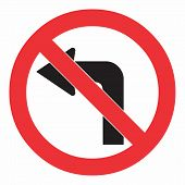 Do Not Turn Left Traffic Sign On White. Colorful Illustration. poster