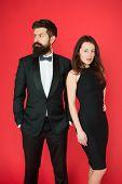 All Black Dress Code. Official Event Concept. Man Bearded Wear Tuxedo Girl Elegant Dress. Visiting E poster