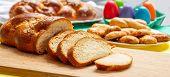 Easter Tsoureki Braid Slices, Greek Easter Sweet Bread, On Wood poster