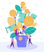 Cartoon Flat Little People Water Flower Tree Pot. Teamwork Search Fresh Interesting Ideas Generation poster