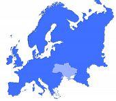 Ukraine Location In Europe Map poster
