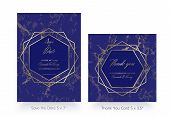 Invitation Card Template. Save The Date And Thank You Cards. Geometric Design Of Gold And Marble. Lu poster