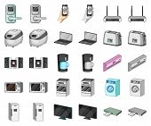 Smart Home Appliances Cartoon, Monochrom Icons In Set Collection For Design. Modern Household Applia poster