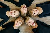 A Team Of Young Children Do Gymnastics In A Dance Class. The Concept Of Sport, Education, Childhood, poster