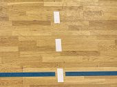 Lines On Floor. Worn Out Wooden Floor. Wooden Floor Basketball Court. poster