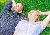 Nature Fills Them With Freshness And Peace. Man Unshaven And Girl Lay On Grass Meadow. Guy And Girl  poster