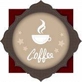 Cup Of Coffee On The Emblem. Label, Emblem, Logo With A Cup Of Coffee. Brown Tones. An Ilustration O poster