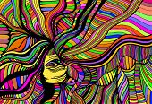Psychedelic Fantasy  Beautiful Girl. Vector Hand Drawn Illustration With Fantastic Surreal Woman. Cr poster