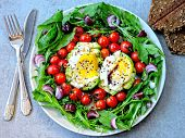 Avocado With Egg, Arugula And Cherry Tomatoes On A Plate. Plate With A Healthy Meal. A Healthy Healt poster
