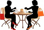 foto of tea bag  - Two women at a small table drinking tea - JPG