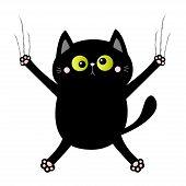 Black Cat Nail Claw Scratch. Screaming Kitten. Crossed Green Eye. Cute Cartoon Kawaii Funny Characte poster