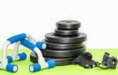 Fitness Expander And Barbell Weight Plates, Push Up  Equipment poster