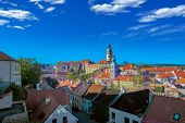 Aerial View Over Historic Centre Of Chesky Krumlov Old Town In The South Bohemian Region Of The Czec poster
