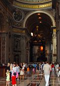 Tourists In Basilica Of St. Peter, Vatican, Rome