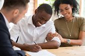 Happy African Family Couple Customers Sign Mortgage Loan Insurance Contract poster