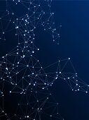 Social Media Communication Digital Concept. Network Nodes Plexus Dark Blue Background. Nanotechnolog poster