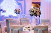 Banquet Hall For Weddings With Decorative Elements poster