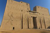 picture of horus  - The entrance portal to the temple of the god Horus Edfu Egypt - JPG