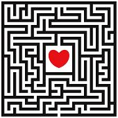 Labyrinth With Red Heart poster