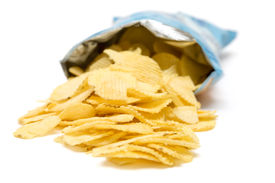 foto of potato chips  - Bag of golden chips isolated on a white background - JPG