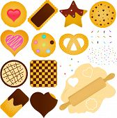 A set of Vector Icons : Cookies and Biscuit with a Dough