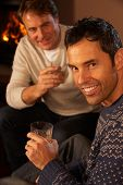 Two Middle Aged Men Relaxing Sitting On Sofa Drinking Whisky