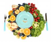 Blue plate surrounded by wholesome food diet isolated on white