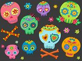 image of halloween characters  - Halloween Illustration Featuring Colorful Sugar Skulls - JPG