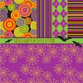 Halloween Patterns - 5 seamless Halloween patterns in warm orange, purple, black and green, includin