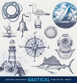 image of lighthouse  - Nautical hand drawn vector set - JPG
