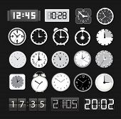 Black and white different clocks collection