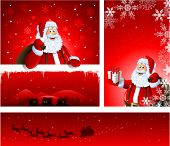 Different Christmas greeting card design with Santa Claus